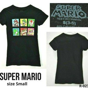 Super Mario Boy S (3-5) T-Shirt Black Graphic EUC